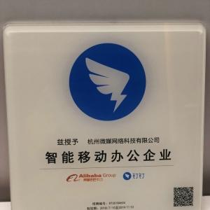 """杭州微媒网络被阿里巴巴·钉钉授予""""智能移动办公企业"""""""